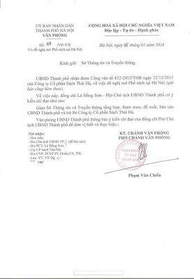 Công văn hồi đáp về ý tưởng làm Phố sách tại Hà Nội