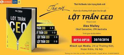 """8h30, 30/10 – Chương trình giao lưu tác giả Alex Malley """"Lột trần CEO"""" tại Hà Nội"""