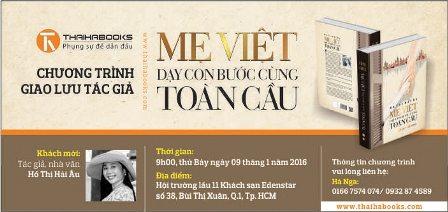 """TP.HCM: Giao lưu tác giả """"Mẹ Việt dạy con bước cùng toàn cầu"""" ngày 09/01/2016"""