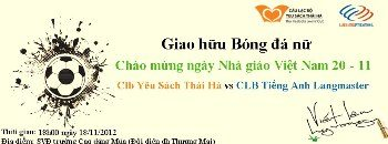 Giao hữu bóng đá nữ: CLB Yêu sách Thái Hà gặp CLB Tiếng Anh Langmaster
