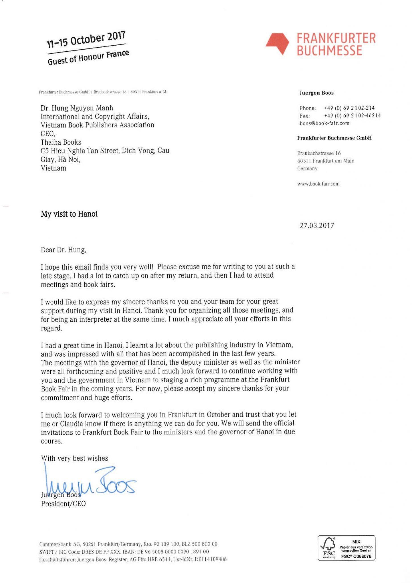 Thư của Chủ tịch Frankfurt Book Fair – Juergen Boos gửi Tiến sĩ Nguyễn Mạnh Hùng