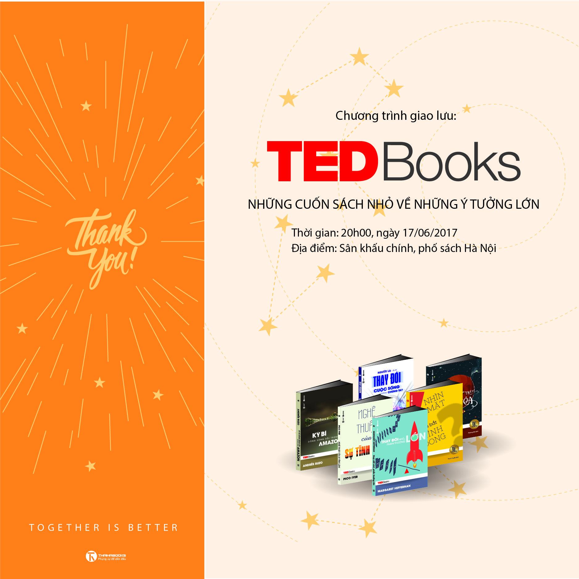 """Mừng ThaiHaBooks 10 tuổi: 20h00 ngày 17/06 Reading tour số 36: """"TEDBooks – Những cuốn sách nhỏ về những ý tưởng lớn"""""""