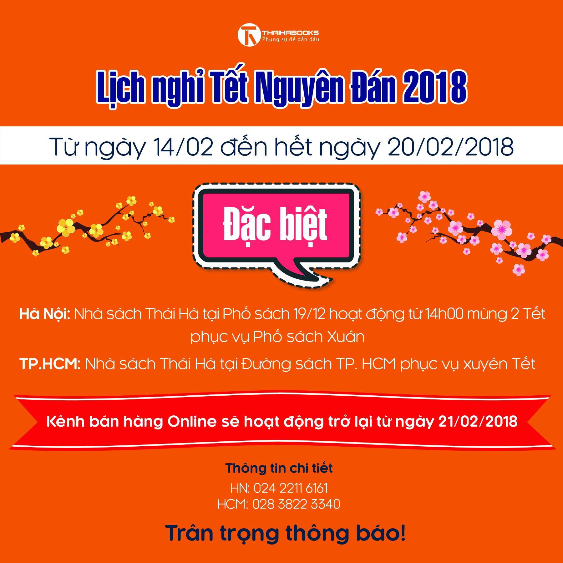 ThaiHaBooks – Thông báo lịch nghỉ Tết Nguyên Đán 2018
