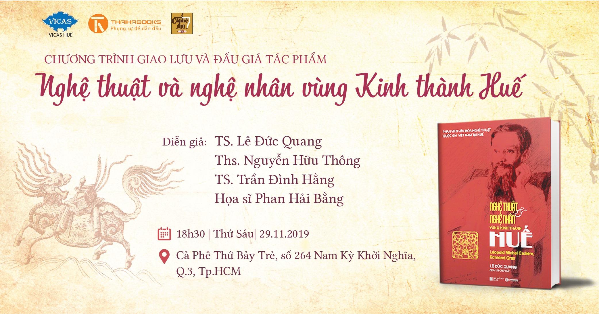 """TP.HCM ngày 29.11 – Giao lưu và đấu giá """"Nghệ thuật và nghệ nhân vùng Kinh thành Huế"""""""